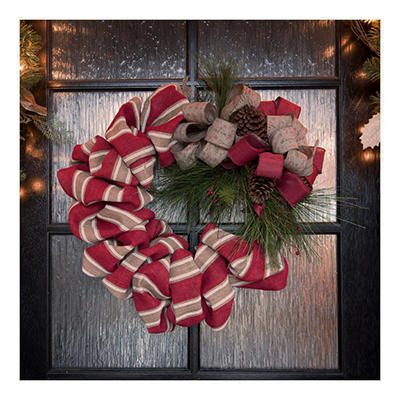 Holiday Designer Burlap Wreath, 24""