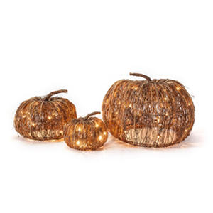 Member's Mark 3-Piece Pre-Lit Grapevine Pumpkin Set