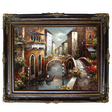 "Hand Painted Oil Art Framed  ""Venetian Canal"""