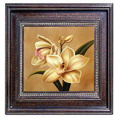 "Hand Painted Framed Oil Artwork ""Orchid"""