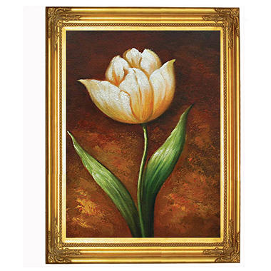"Hand-Painted Oil Art ""Golden Essence Tulip"""