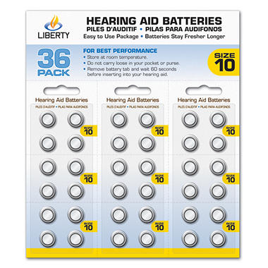 Liberty Hearing Aid Batteries:  Size 10 (10a)