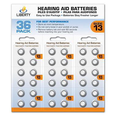 Liberty Hearing Aid Batteries:  Size 13