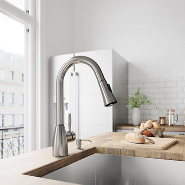 VIGO Pull-Out Spray Kitchen Faucet, Stainless  VG02013ST