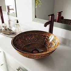 VIGO Golden Greek Glass Vessel Sink and Faucet Set in Oil-Rubbed Bronze