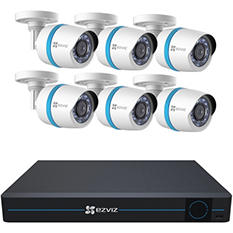 EZVIZ 8 Channel Security System with 2TB Hard Drive, 6 1080p Weatherproof Bullet Cameras with 100' Night Vision