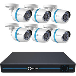 EZVIZ 8 Channel 1080p HD IP NVR Security System with 2TB Hard Drive, 6 1080p Weatherproof Bullet Cameras with 100' Night Vision