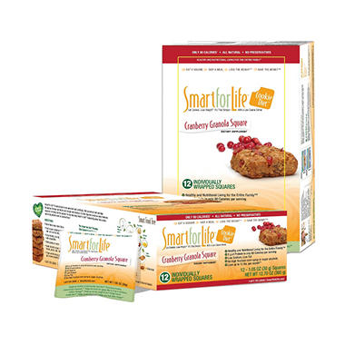 Smart for Life Cookie Diet Meal Replacements - Cranberry Granola Squares - 12 ct.