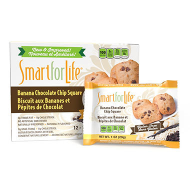 Smart for Life Cookie Diet Meal Replacements - Gluten-Free Banana Chocolate Chip Granola Squares - 12 ct.