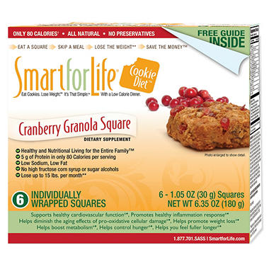 Smart for Life Cookie Diet 7-Day Meal Replacements Cranberry Granola Squares - 42 ct.