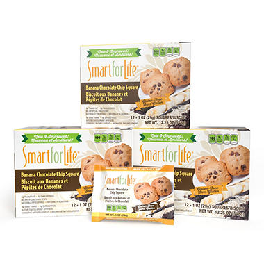 Smart for Life Cookie Diet 7-Day Meal Replacements - Gluten Free Banana Chocolate Chip Granola Squares - 42 ct.