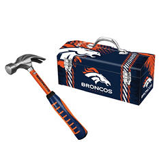 Denver Broncos Steel Hammer and Tool Box Combo