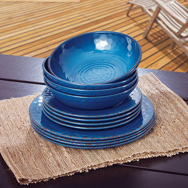 Melamine Dinnerware 12PC Set - Various Colors