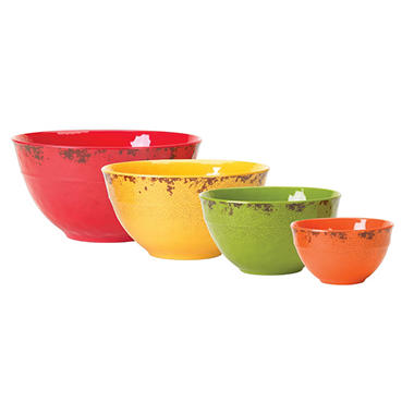 Melamine Bowl Set with Rustic Finish