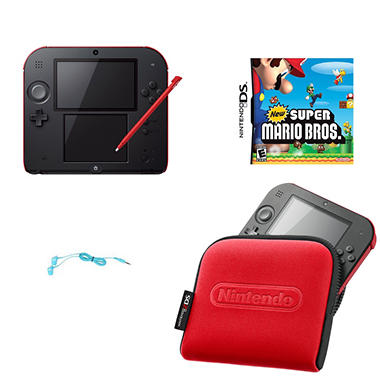 Nintendo 2DS System - Crimson Red with New Super Mario Bros.