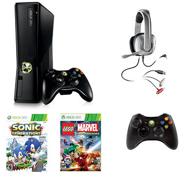 Xbox 360 4GB System with LEGO Marvel Heroes, Sonic Generations, Extra Controller & Headset