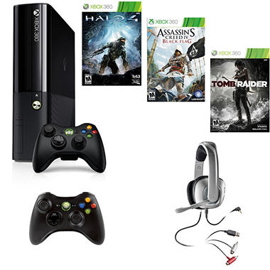 Xbox 360 250GB System with Assassin's Creed IV: Black Flag, Extra Controller and Headset