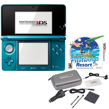 Blue 3DS Handheld with Starter Kit and Pilot Wings