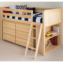 Jackpot! Twin Loft Bed with Dresser and Bookcase, 3-Piece Set (Assorted Colors)