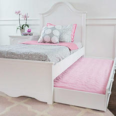 Charleston Bed with Trundle Bed, White (Twin Size)