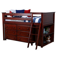 Twin Loft Bed with Dresser and Bookcase, 3-Piece Set (Assorted Colors)
