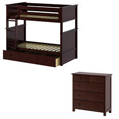 Twin Bunk Bed with Dresser and Trundle Bed, 3-Piece Set (Assorted Colors)