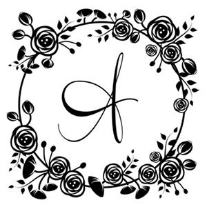 Three Designing Women Self-Inking Stamp, Floral Design, Choose Initial