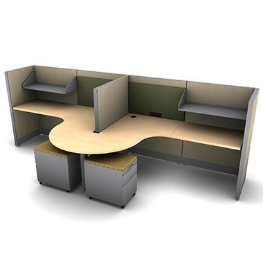SNAP!Office 2-Person Task Workstation - Hardwood Forest Color Combo