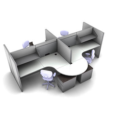 SNAP!Office 4-Person Task Workstation - Concrete Chic Color Combo