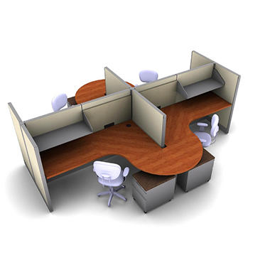 SNAP!Office 4-Person Task Cubicle - Gap Swing Color Combo