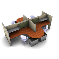 SNAP!Office 4-Person Task Workstation - Urban Jungle Color Combo