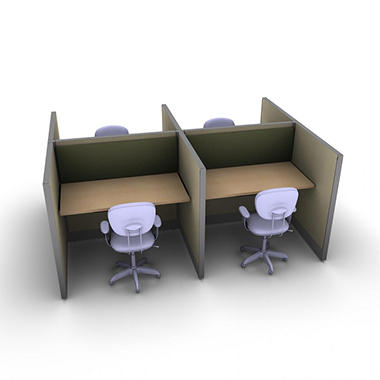 SNAP!Office - 4-Person Basic Cubicle - Hardwood Forest Color Combo
