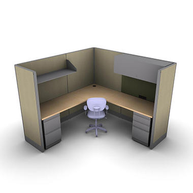 SNAP!Office 1-Person Management Workstation - Hardwood Forest Color Combo