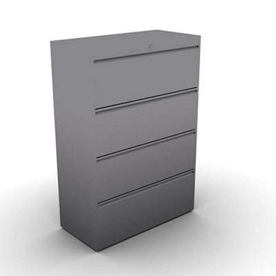 SNAP!Office 4-Drawer Lateral File - Aluminum Gray