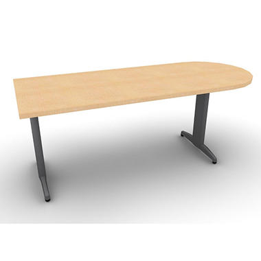 "SNAP!Office Peninsula ""D"" Desk - Aluminum Gray & Amber Maple Top"