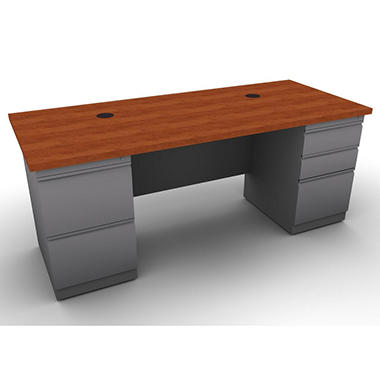 SNAP!Office Double Pedestal Linear Desk - Aluminum Gray & Blossom Cherrywood Top