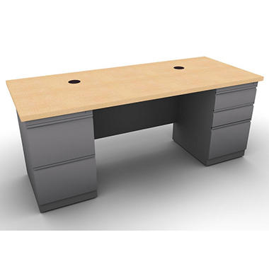 SNAP!Office Double Pedestal Linear Desk - Aluminum Gray & Amber Maple Top