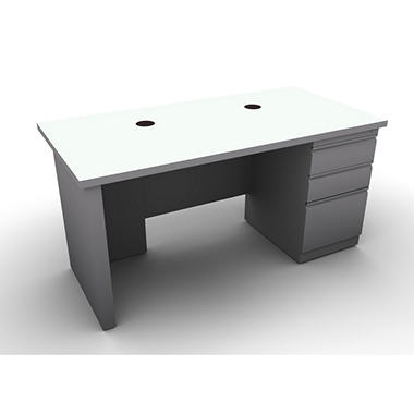 SNAP!Office Single Pedestal Linear Desk - Aluminum Gray & Frosty White Top