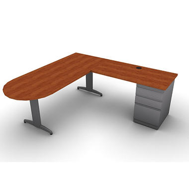 "SNAP!Office L-Shaped Peninsula ""D"" Desk & Return - Right Hand - Aluminum Gray & Blossom Cherrywood Top"