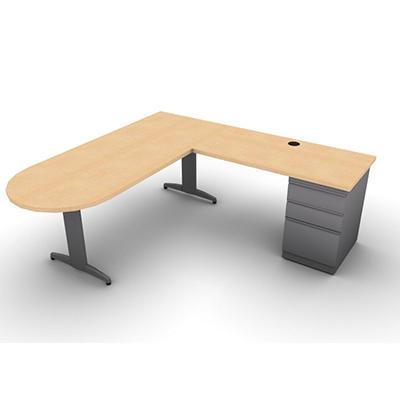 "SNAP!Office L-Shaped Peninsula ""D"" Desk & Return - Right Hand - Aluminum Gray & Amber Maple Top"