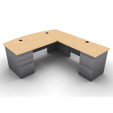 SNAP!Office L-Shaped Single Pedestal Bow Front Desk & Return - Right Hand - Aluminum Gray & Amber Maple Top