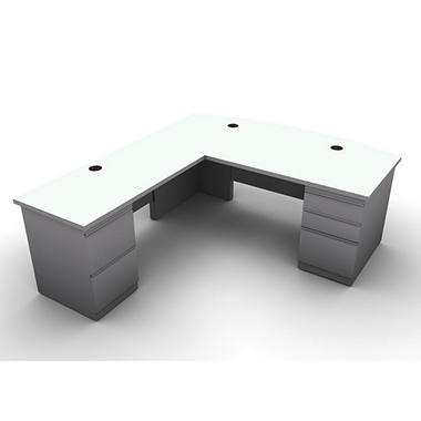SNAP!Office L-Shaped Single Pedestal Bow Front Desk & Return - Left Hand - Aluminum Gray & Frosty White Top