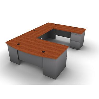 SNAP!Office U-Shaped Single Pedestal Bow Front Desk, Bridge & Credenza - Right Hand - Aluminum Gray & Blossom Cherrywood Top