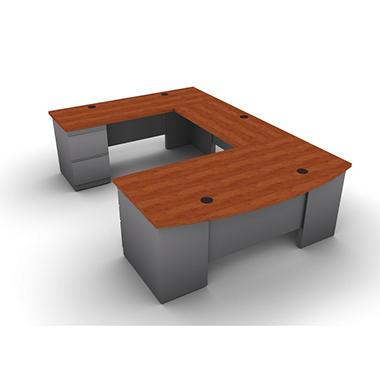 SNAP!Office U-Shaped Single Pedestal Bow Front Desk, Bridge & Credenza - Left Hand - Aluminum Gray & Blossom Cherrywood Top