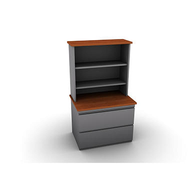 SNAP!Office Filenza with Bookcase - Aluminum Gray & Blossom Cherrywood Top