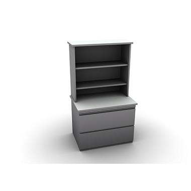 SNAP!Office Filenza with Bookcase - Aluminum Gray & Frosty White Top
