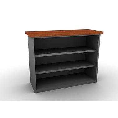 SNAP!Office Bookcase - Aluminum Gray & Blossom Cherrywood Top