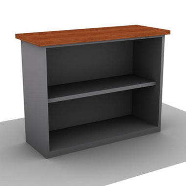SNAP!Office Bookcase Aluminum Gray & Amber Maple Top