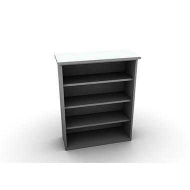 SNAP!Office Bookcase - Aluminum Gray & Frosty White Top