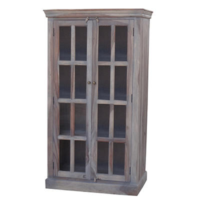 Windowpane Distressed Cabinet